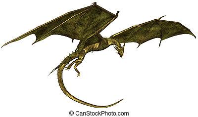 Green Scaled Dragon in Flight