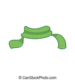 Green scarf on white background. Vector illustration