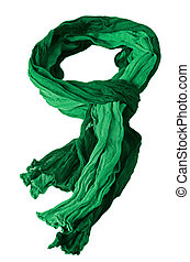Green scarf isolated on white background.