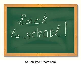 Green school blackboard in wooden frame with Inscription: Back to School