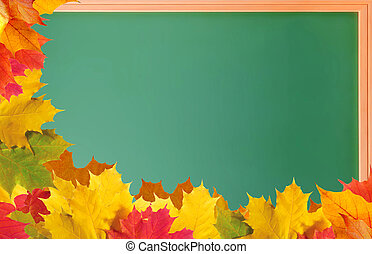 Green school blackboard with autumn leaves