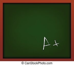 Green school chalkboard with frame vector . With A mark
