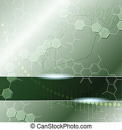 Green background with molecules. Graphics are grouped and in several layers for easy editing. The file can be scaled to any size.
