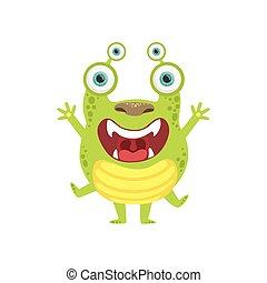 Green Screaming Friendly Monster