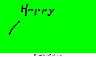 Green screen animation calligraphy writing happy anniversary...