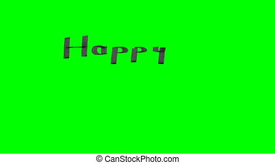Green screen animation calligraphy writing happy birthday...