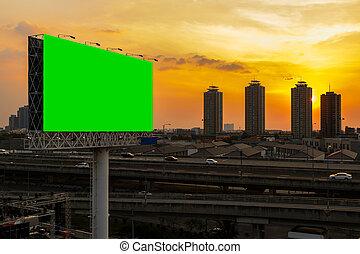 green screen billboard beside express way at beautyful...