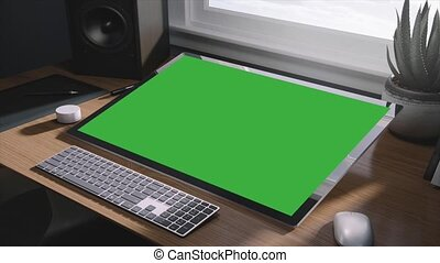 Green Screen Computer. Computer and keyboard in the office....