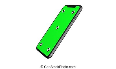 Green screen display of smartphone rotating around its axis....