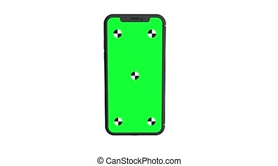 Green screen display smartphone rotating in center of...