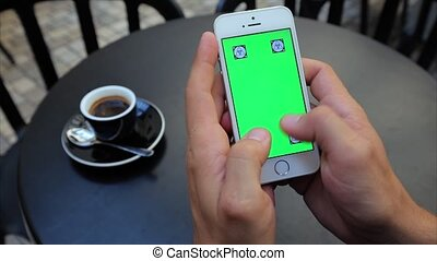 Green screen for typing text vertically with both hands on the phone in white, Iphone, tags