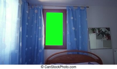 Green screen instead of the window in the bedroom