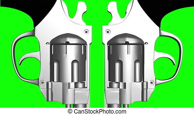 Green screen looping pistols - Green screen looping dual...