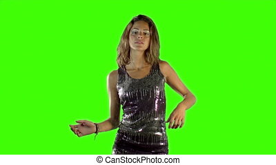 green screen shot of a sexy woman dancing in a sparkly disco...