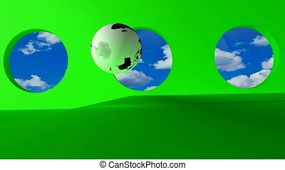 steel word Online - Green screen. Terrestrial globe rolling...
