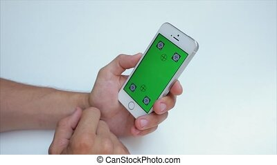 Green screen to scroll through web pages vertically on the phone in white, Iphone, tags