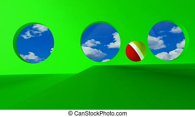 golden word webinar - Green screen. Yellow-red ball rolls on...
