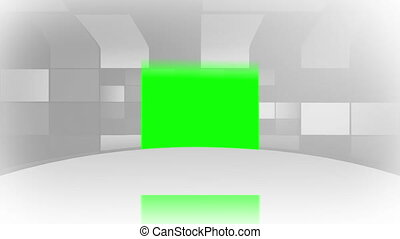 Green screens bouncing on a white s