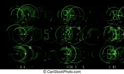 Green scroll round and digit, seamless loop