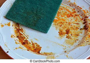 green scrub sponge wipe food stain