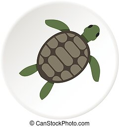 Green sea turtle icon circle