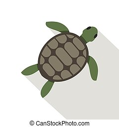 Green sea turtle icon, flat style