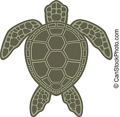 Green Sea Turtle - Vector graphic illustration of a Green...