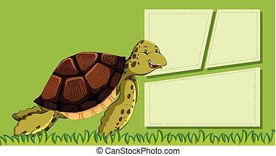 Green sea turtle template