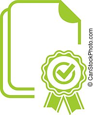 Green sealed certificate vector icon