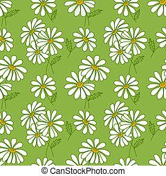 Green seamless daisy pattern. Summer vector background.