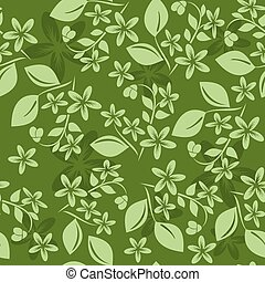 green seamless floral pattern