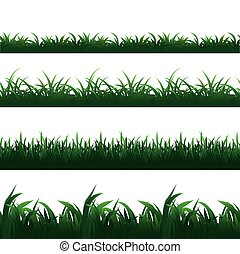 Green seamless grass borders vector set