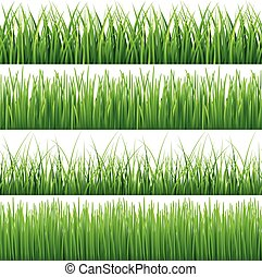 Green seamless grass vector set