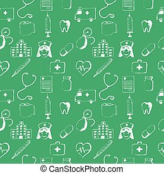 Green seamless pattern-medical items