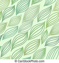 Green seamless pattern with stylized leaves