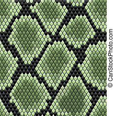 Green seamless snake skin pattern for background design