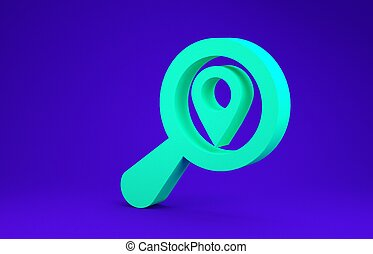 Green Search location icon isolated on blue background. Magnifying glass with pointer sign. Minimalism concept. 3d illustration 3D render