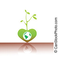 World into a green heart tree with a reflexion on a brown floor