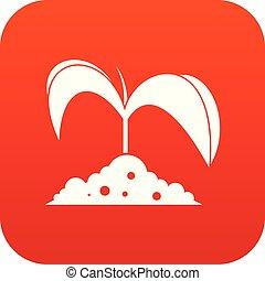 Green seedling in soil icon digital red