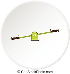 Green seesaw icon circle - Green seesaw icon in flat circle...