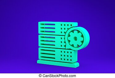 Green Server and gear icon isolated on blue background. Adjusting app, service concept, setting options, maintenance, repair, fixing. Minimalism concept. 3d illustration 3D render