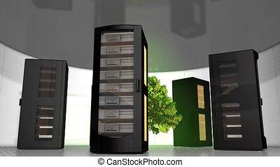 Green server room - Eco-friendly server room.