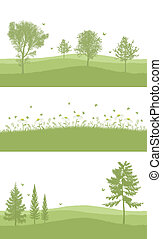 green set for bottom of A4 page - set of 3 greenery designs...