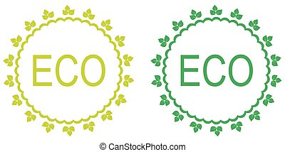 Green set of organic labels.