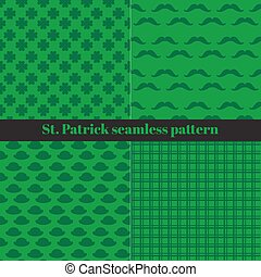Set of St. Patrick s Day Seamless Patterns with Checkered Stripes, Hats, Mustaches and Clover