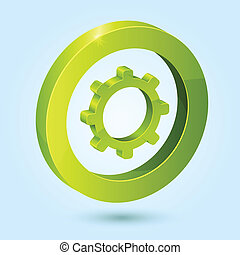 Green settings symbol isolated on blue background