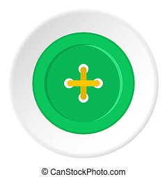 Green sewing button icon circle