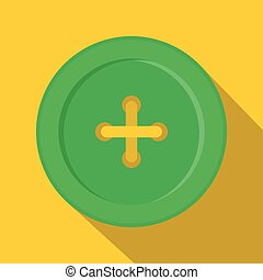 Green sewing button icon, flat style