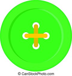 Green sewing button icon isolated