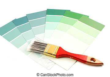 green shade paint swatches, and small paint roller for home decorating